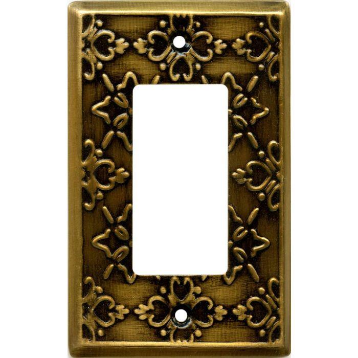 Baroque Antique Brass Single 1 Gang GFCI Rocker Decora Switch Plate Cover
