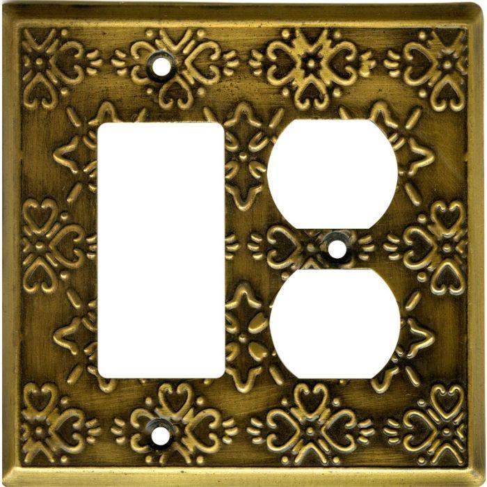 Baroque Antique Brass Combination GFCI Rocker / Duplex Outlet Wall Plates