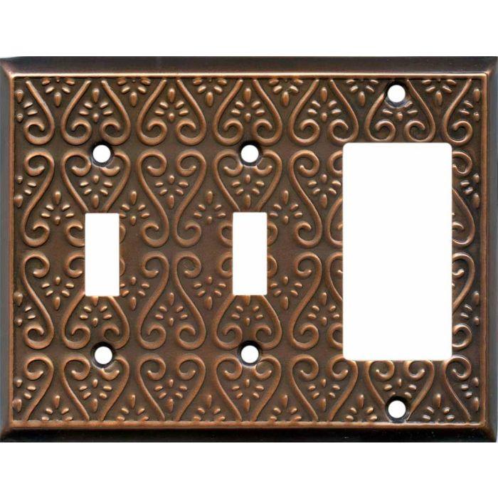Filigree Antique Copper Double 2 Toggle / 1 GFCI Rocker Combo Switchplates