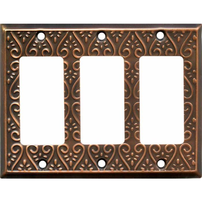 Filigree Antique Copper Triple 3 Rocker GFCI Decora Light Switch Covers