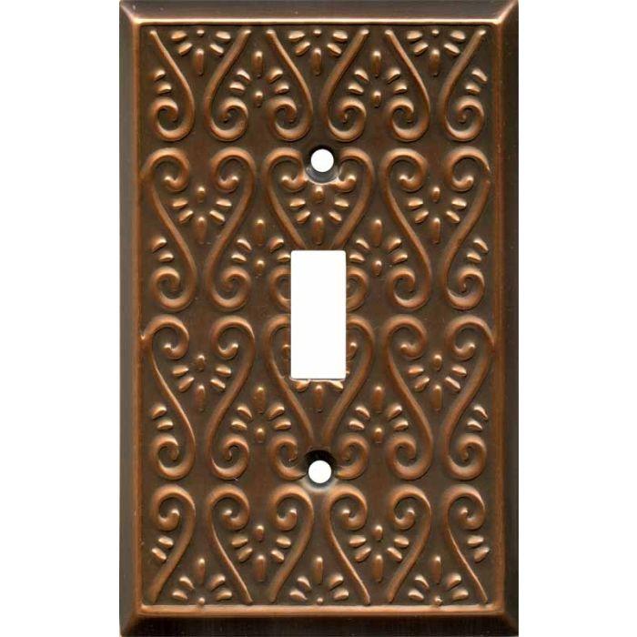 Filigree Antique Copper Single 1 Toggle Light Switch Plates