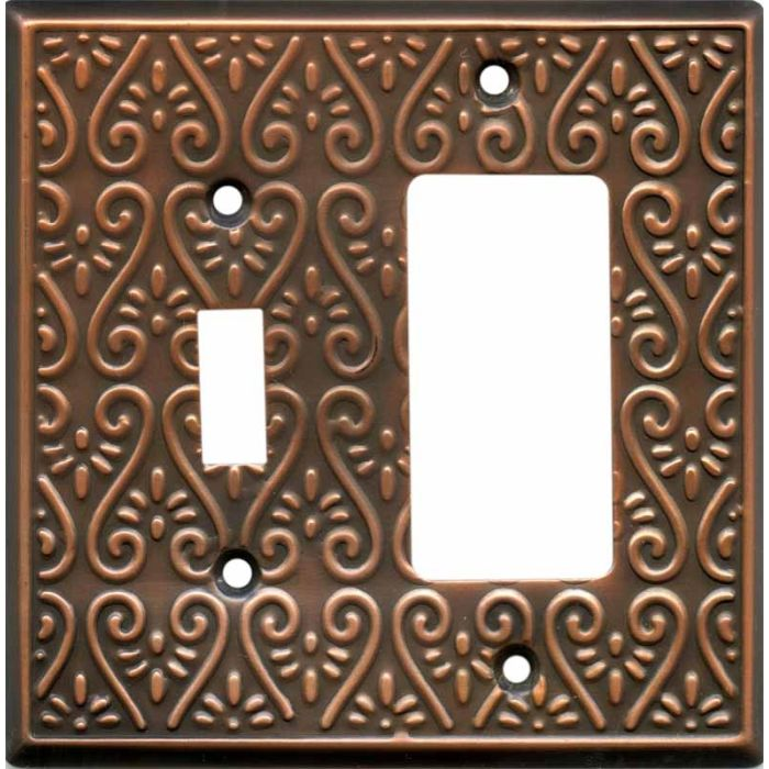 Filigree Antique Copper Combination 1 Toggle / Rocker GFCI Switch Covers