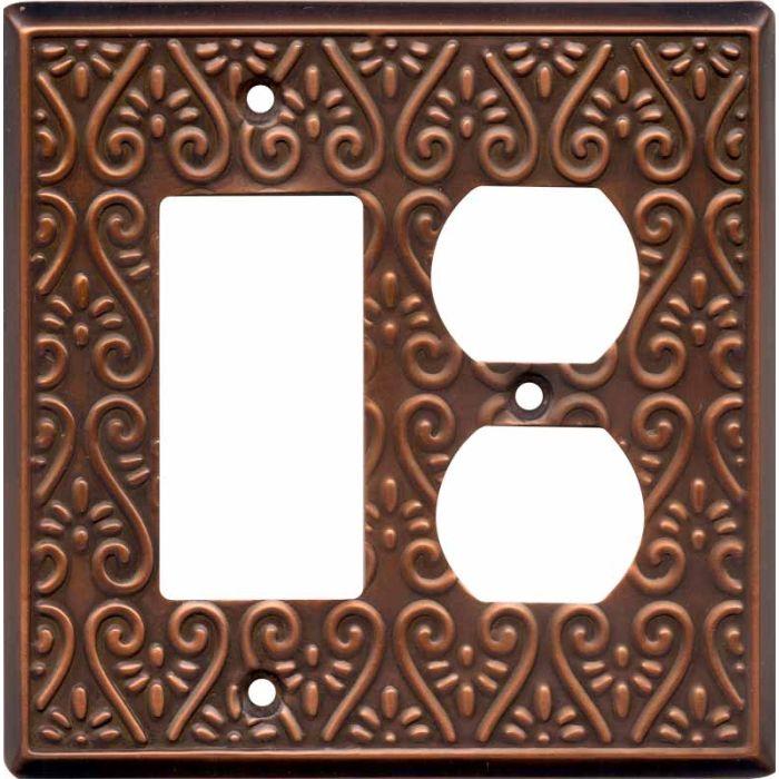 Filigree Antique Copper Combination GFCI Rocker / Duplex Outlet Wall Plates
