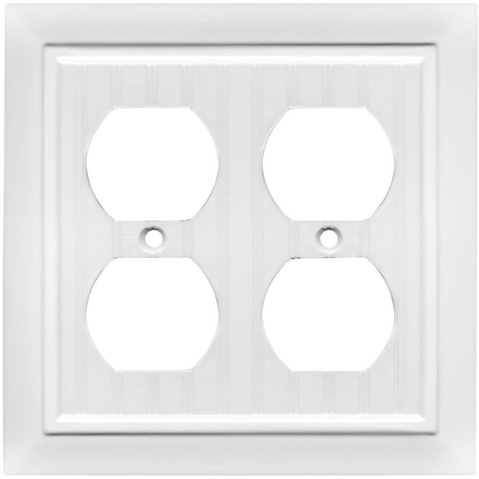 Beadboard White Double 2 Toggle Switch Plate Covers