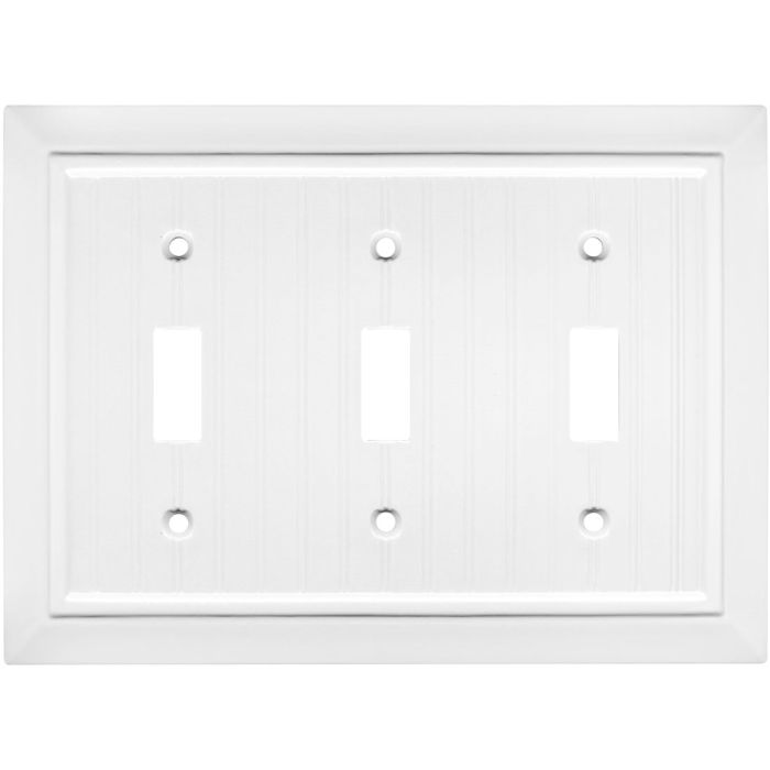 Beadboard White Triple 3 Toggle Light Switch Covers