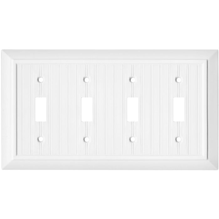Beadboard White Quad 4 Toggle Light Switch Covers