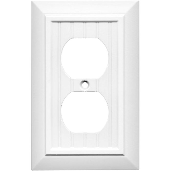 Beadboard White 1 Gang Duplex Outlet Cover Wall Plate