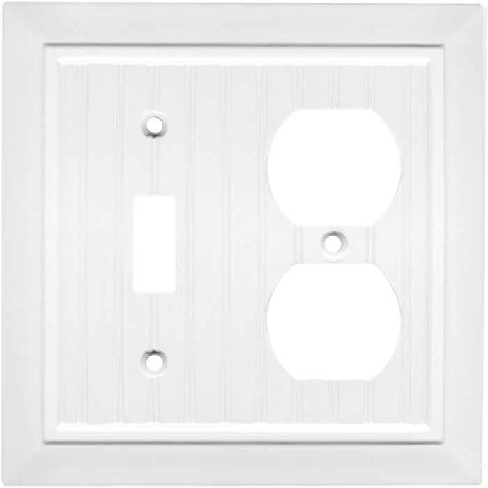 Beadboard White Combination 1 Toggle / Outlet Cover Plates