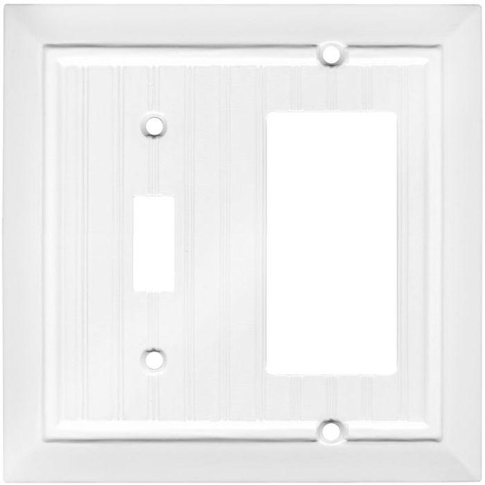 Beadboard White Combination 1 Toggle / Rocker GFCI Switch Covers
