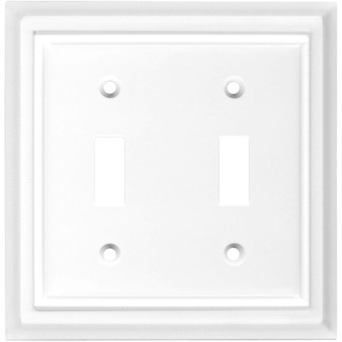 Architectural White Double 2 Toggle Switch Plate Covers