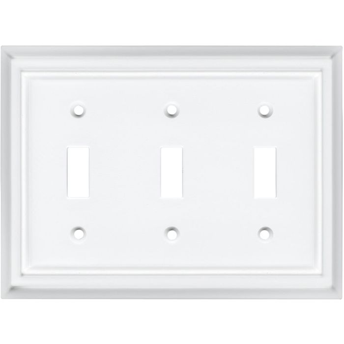 Architectural White Triple 3 Toggle Light Switch Covers