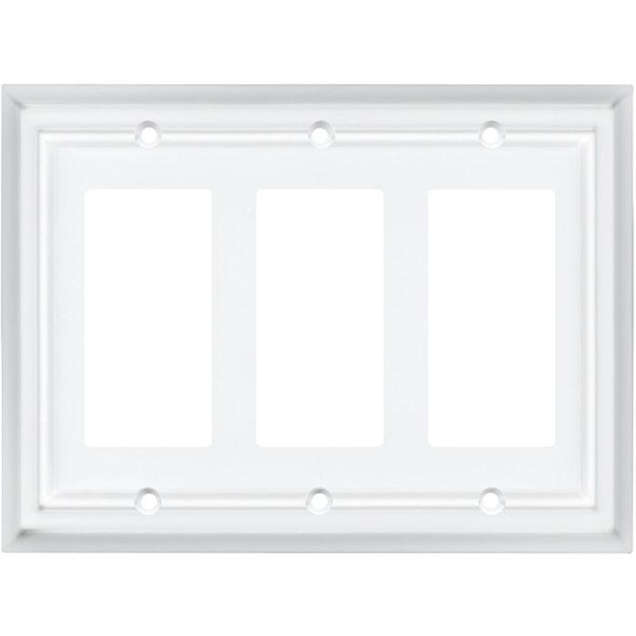 Architectural White Triple 3 Rocker GFCI GFI Rocker Light Switch Covers