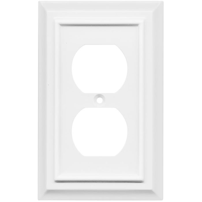 Architectural White 1 Gang Duplex Outlet Cover Wall Plate