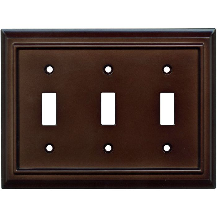 Architectural Espresso Triple 3 Toggle Light Switch Covers