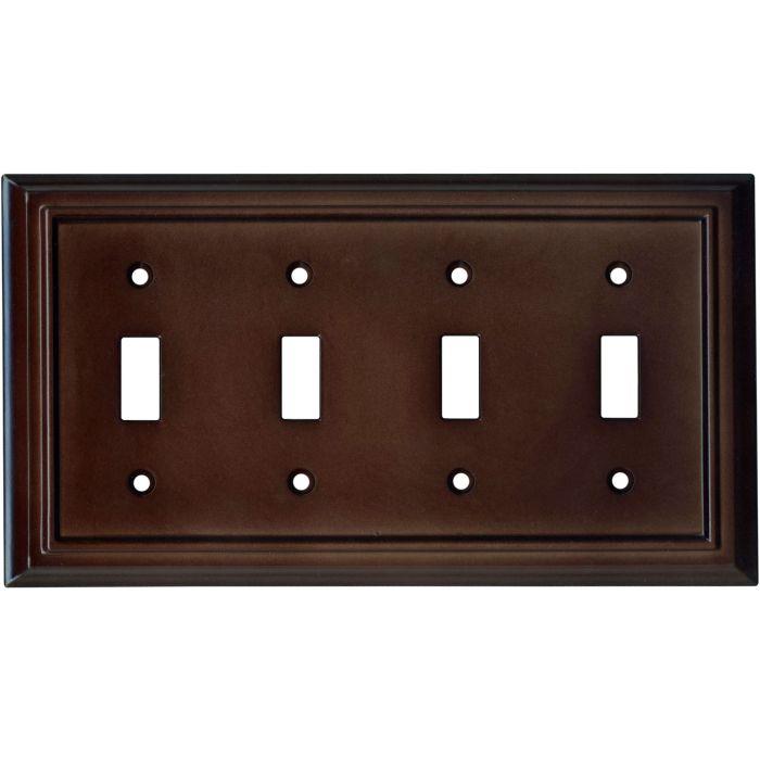 Architectural Espresso Quad 4 Toggle Light Switch Covers