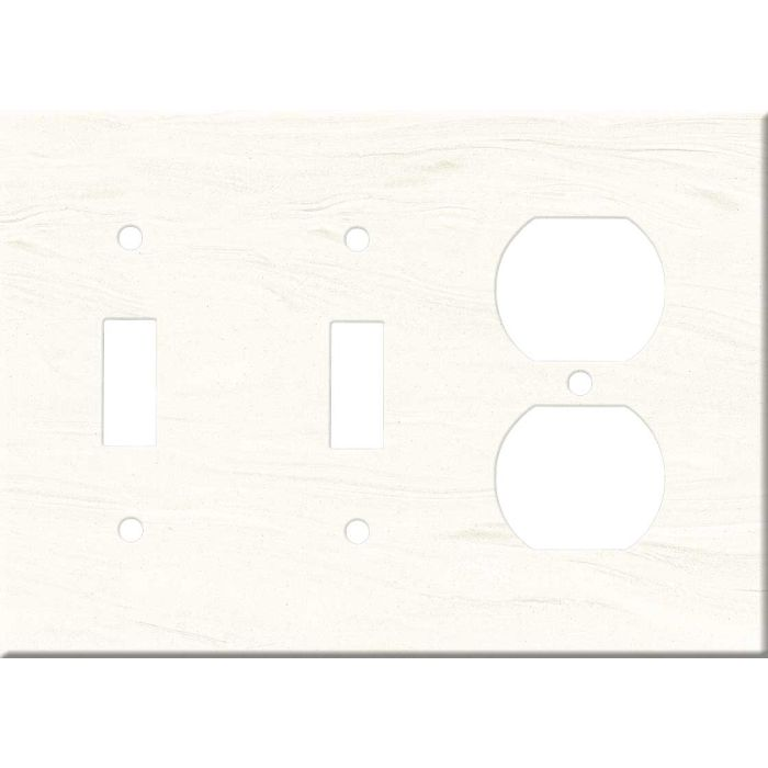 Corian Cirrus White Double 2 Toggle / Outlet Combination Wall Plates