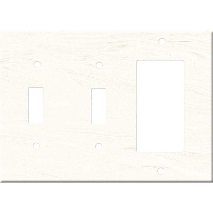 Corian Cirrus White Double 2 Toggle / 1 GFCI Rocker Combo Switchplates