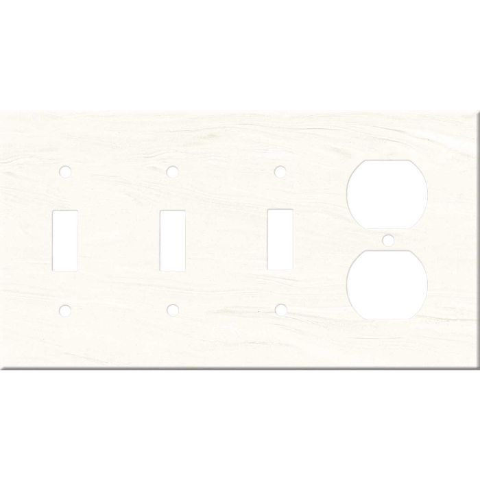 Corian Cirrus White Combination Triple 3 Toggle / Outlet Wall Plate Covers