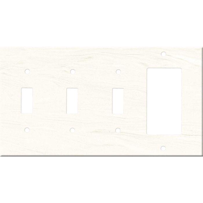 Corian Cirrus White Triple 3 Toggle / 1 Rocker GFCI Switch Covers