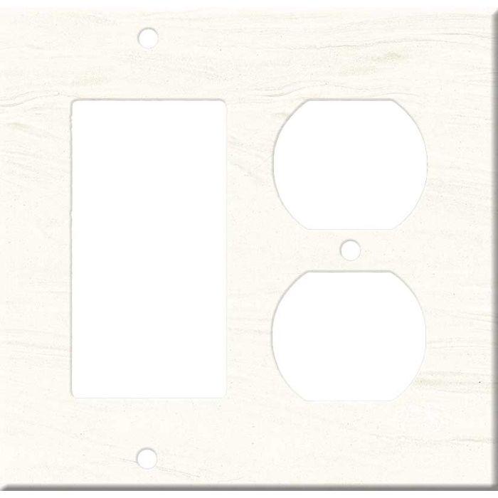 Corian Cirrus White Combination GFCI Rocker / Duplex Outlet Wall Plates