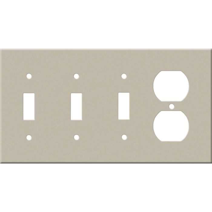 Corian Elegant Gray Combination Triple 3 Toggle / Outlet Wall Plate Covers