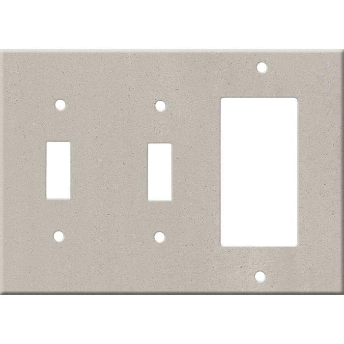 Corian Neutral Concrete Double 2 Toggle / 1 GFCI Rocker Combo Switchplates