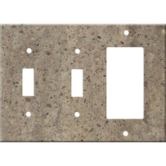 Corian Riverbed Double 2 Toggle / 1 GFCI Rocker Combo Switchplates