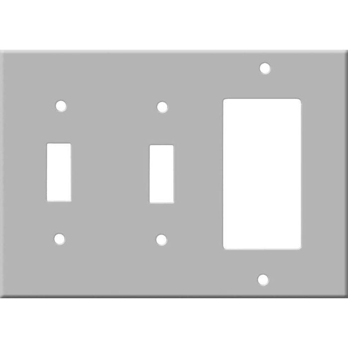 Corian Silver Gray Double 2 Toggle / 1 GFCI Rocker Combo Switchplates