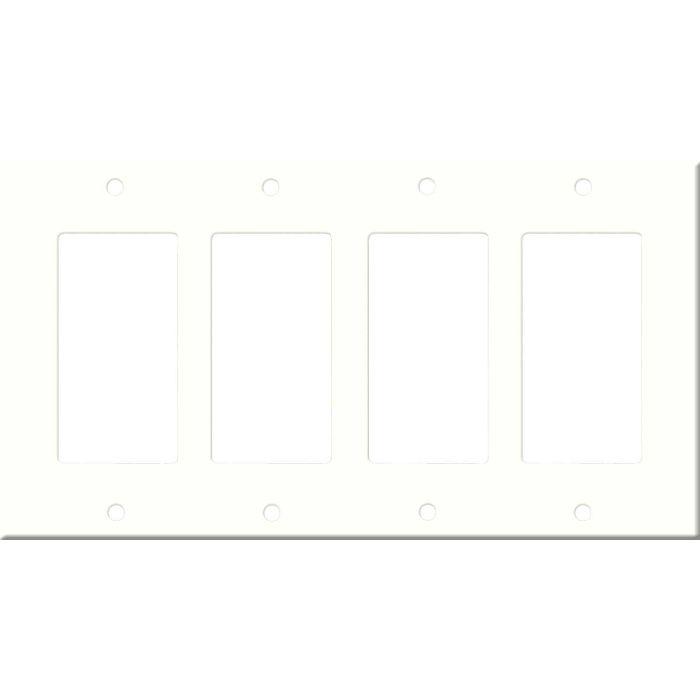 Corian Modern White 4 Rocker GFCI Decorator Switch Plates