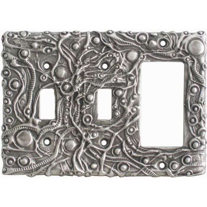 Abstract Wall Plates Double 2 Toggle / 1 GFCI Rocker Combo Switchplates