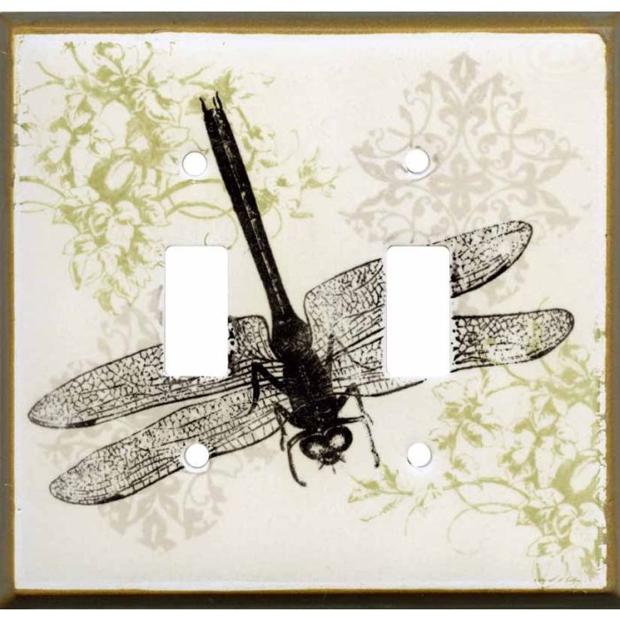 Dragonfly Collage Ceramic Double 2 Toggle Switch Plate Covers