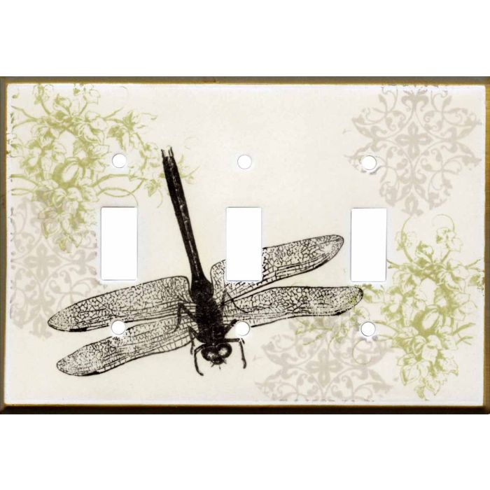 Dragonfly Collage Ceramic Triple 3 Toggle Light Switch Covers