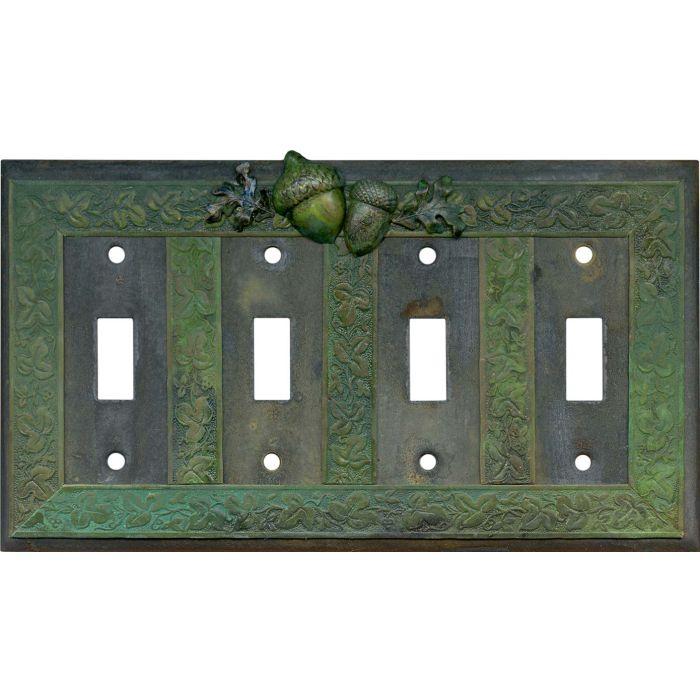 Acorn Quad 4 Toggle Light Switch Covers