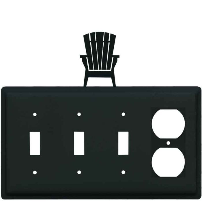 Adirondack Chair Combination Triple 3 Toggle / Outlet Wall Plate Covers