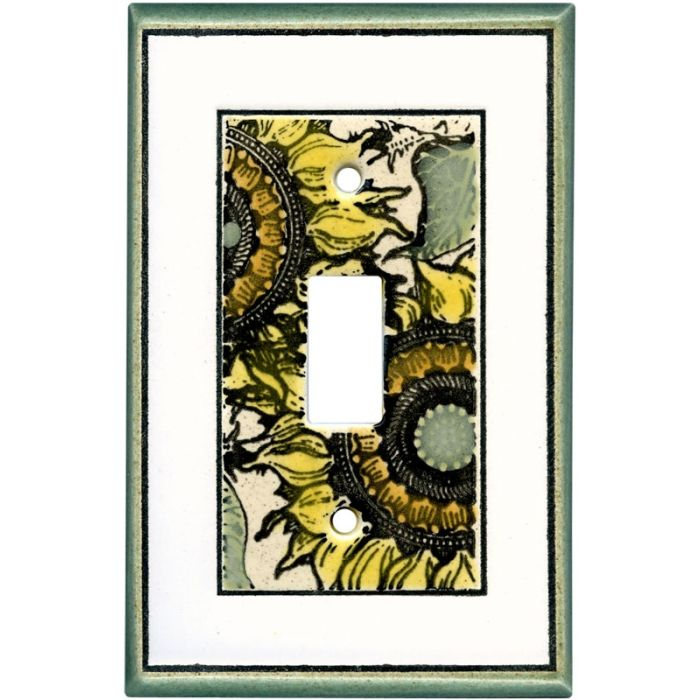 Sunflower Toile Ceramic Single 1 Toggle Light Switch Plates