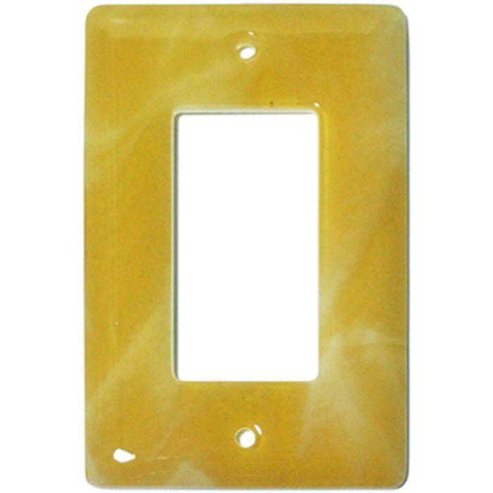 Amber Swirl Glass Single 1 Gang GFCI Rocker Decora Switch Plate Cover