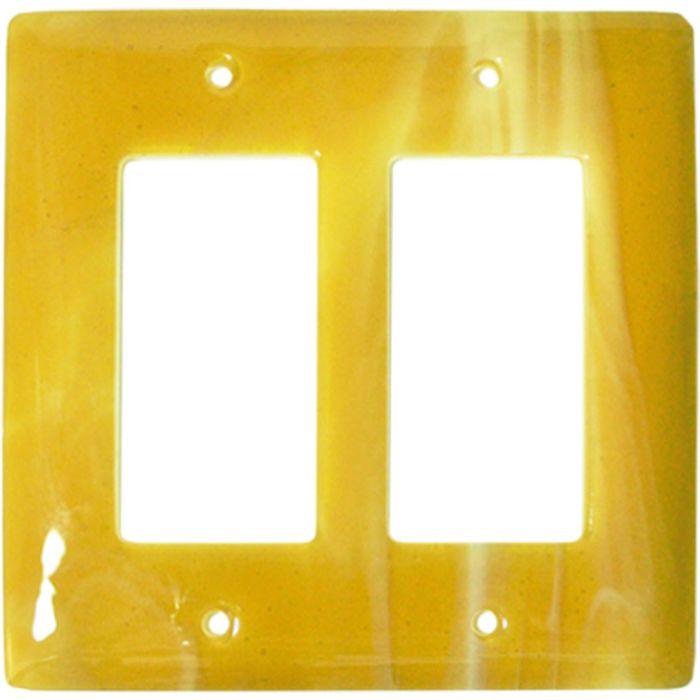 Amber Swirl Glass 2 Gang Double GFCI Rocker Decorator Wallplates
