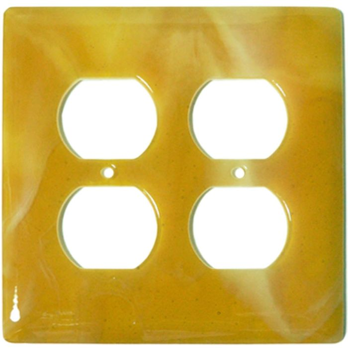 Amber Swirl Glass 2 Gang Duplex Outlet Wall Plate Cover