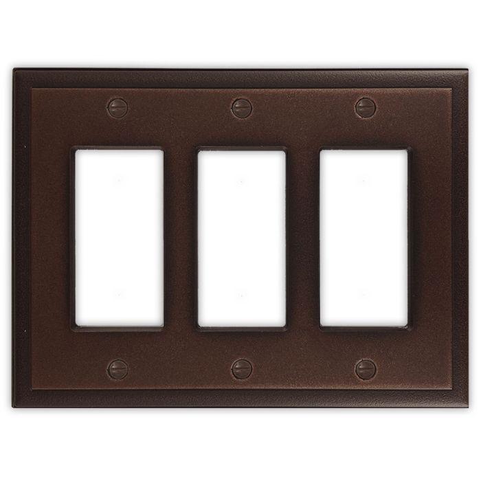 Ambient Oil Rubbed Bronze Triple 3 Rocker GFCI Decora Light Switch Covers