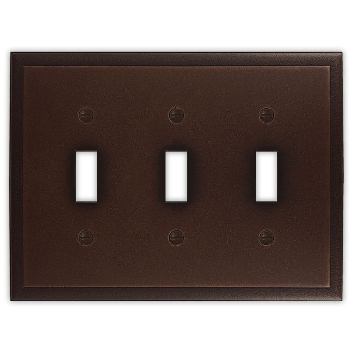 Ambient Oil Rubbed Bronze Triple 3 Toggle Light Switch Covers