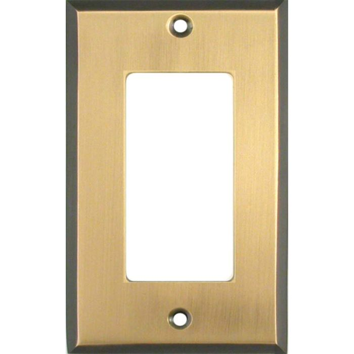 Antique Brass with Black Border - GFCI Rocker Switch Plate Covers