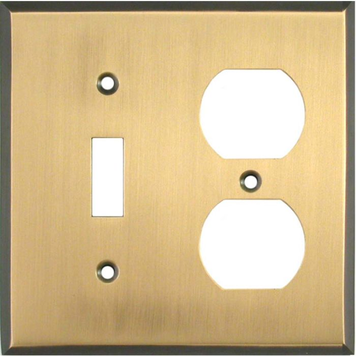 Antique Brass with Black Border - Combination 1 Toggle/Outlet Cover Plates