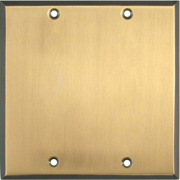 Antique Brass with Black Border - Double Blank Wallplate Covers