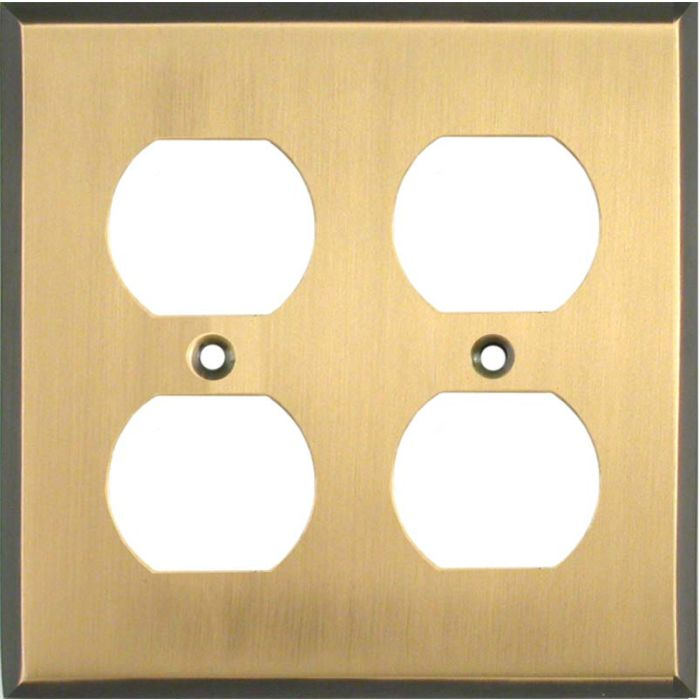 Antique Brass with Black Border - 2 Gang Electrical Outlet Covers