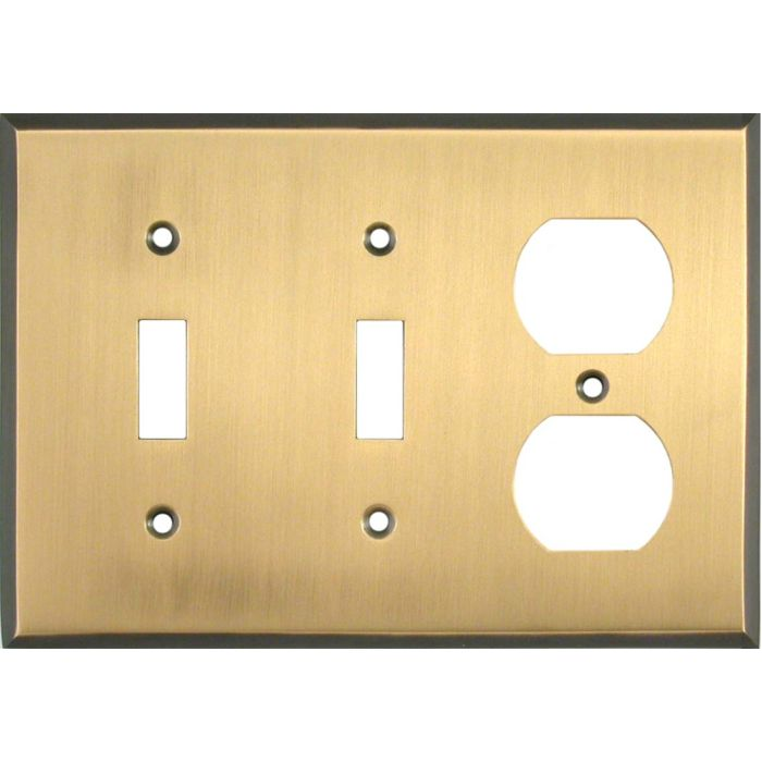Antique Brass with Black Border Double 2 Toggle / Outlet Combination Wall Plates