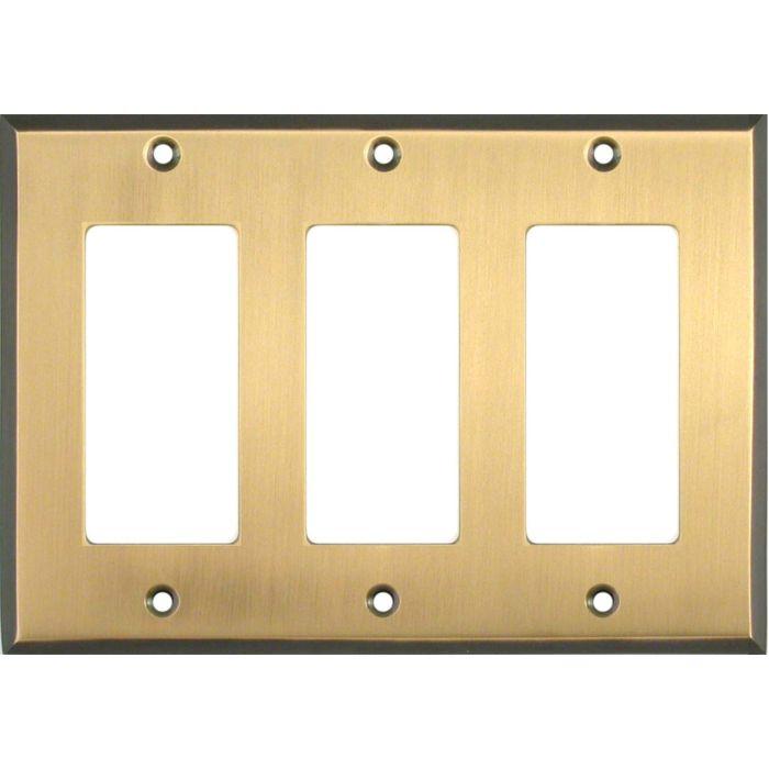 Antique Brass with Black Border Triple 3 Rocker GFCI Decora Light Switch Covers