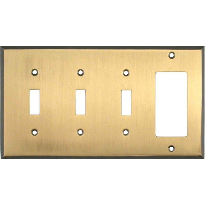 Antique Brass with Black Border Triple 3 Toggle / 1 Rocker GFCI Switch Covers