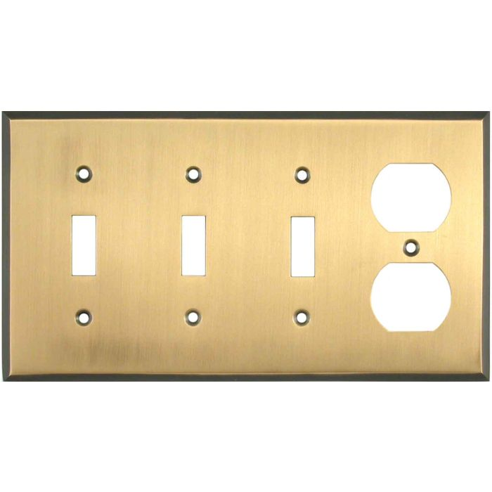 Antique Brass with Black Border - 3 Toggle/Outlet Combo Wallplates