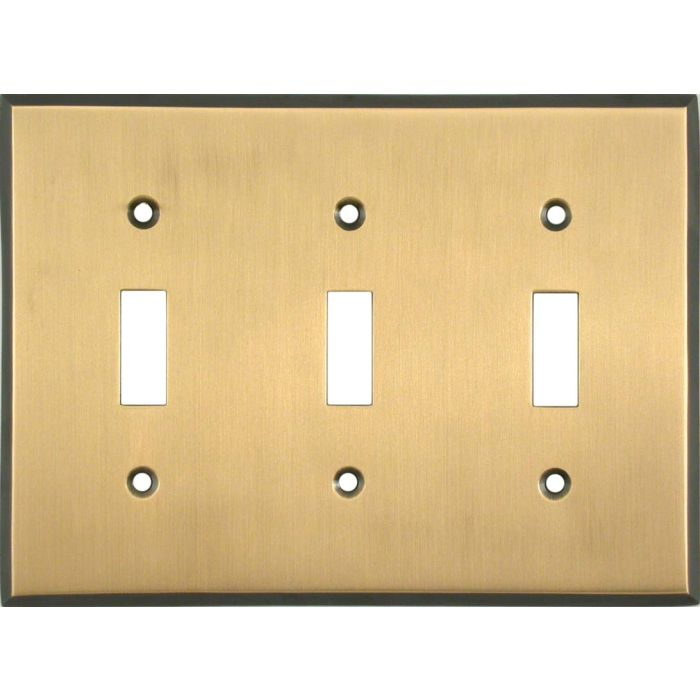 Antique Brass with Black Border Triple 3 Toggle Light Switch Covers