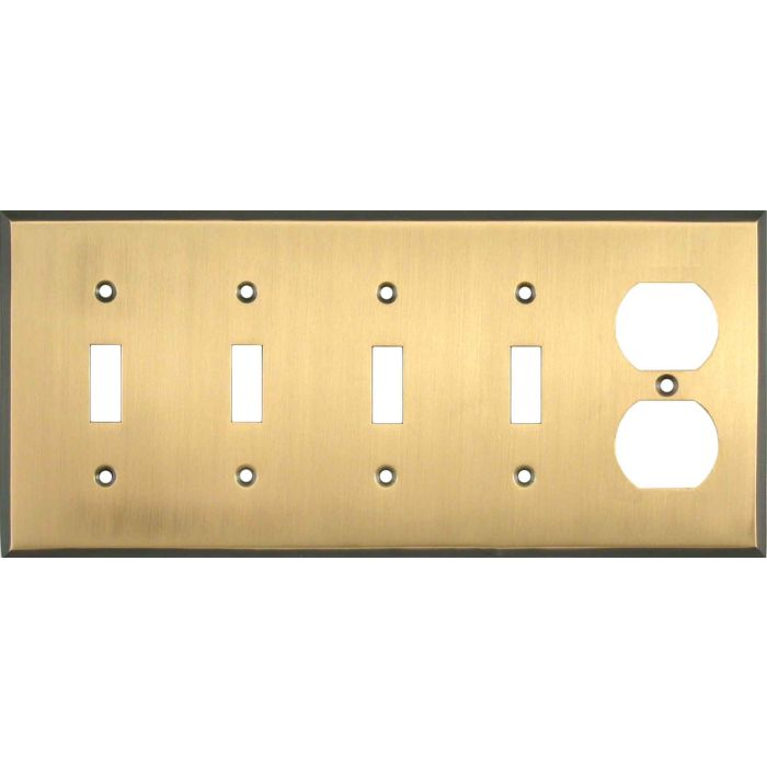 Antique Brass with Black Border - 4 Toggle/Duplex Outlet Combo Plates